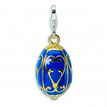 Blue Egg Lobster Clasp Charm in Sterling Silver