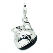 Coffee Pot Lobster Clasp Charm in Sterling Silver