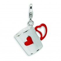 Coffee Cup Heart Lobster Clasp Charm in Sterling Silver