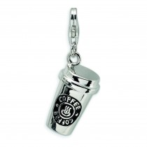 To Go Coffee Cup Lobster Clasp Charm in Sterling Silver