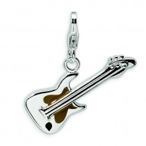 Guitar Lobster Clasp Charm in Sterling Silver