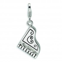 Grand Piano Lobster Clasp Charm in Sterling Silver