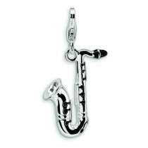 Saxophone Lobster Clasp Charm in Sterling Silver