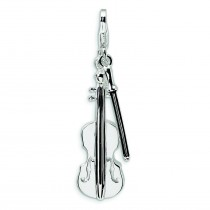 Violin Antiqued Bow Lobster Clasp Charm in Sterling Silver