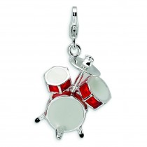 Drum Set Lobster Clasp Charm in Sterling Silver