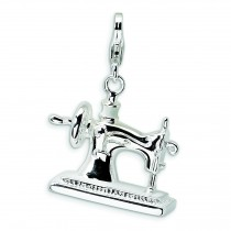 Sewing Machine Lobster Clasp Charm in Sterling Silver