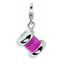 Pink Spoll Of Thread Lobster Clasp Charm in Sterling Silver