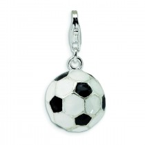 Soccer Ball Lobster Clasp Charm in Sterling Silver