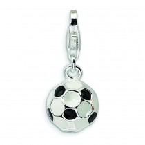 Small Soccer Ball Lobster Clasp Charm in Sterling Silver