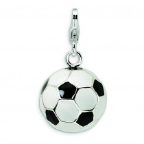 Enamel Soccer Ball Lobster Clasp Charm in Sterling Silver