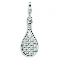 Tennis Racket Lobster Clasp Charm in Sterling Silver