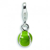 Tennis Ball Lobster Clasp Charm in Sterling Silver