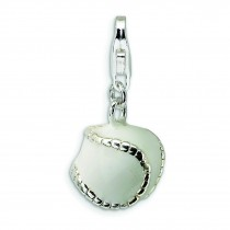 Enamel Baseball Lobster Clasp Charm in Sterling Silver