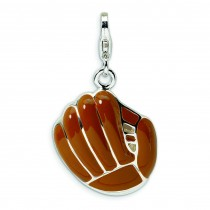 Brown Baseball Mit Lobster Clasp Charm in Sterling Silver