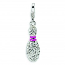 Bowling Pin Lobster Clasp Charm in Sterling Silver