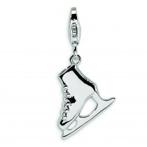 Ice Skate Lobster Clasp Charm in Sterling Silver