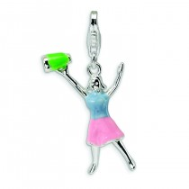 Enamel Cheerleader Lobster Clasp Charm in Sterling Silver