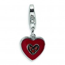 CZ Heart Shaped Lobster Clasp Charm in Sterling Silver