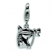 Horse head Lobster Clasp Charm in Sterling Silver