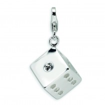 Swarovski Crystal Die Lobster Clasp Charm in Sterling Silver