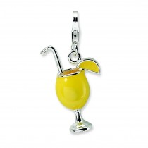 Tropical Drink Lobster Clasp Charm in Sterling Silver