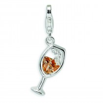 Open Champaign Glass Lobster Clasp Charm in Sterling Silver