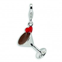 Martini Glass Lobster Clasp Charm in Sterling Silver