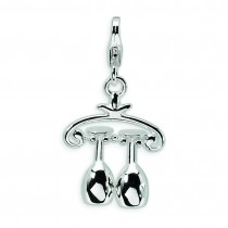 Wine Rack Lobster Clasp Charm in Sterling Silver