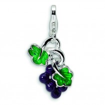 Grapes Lobster Clasp Charm in Sterling Silver