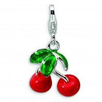 Red Cherries Lobster Clasp Charm in Sterling Silver