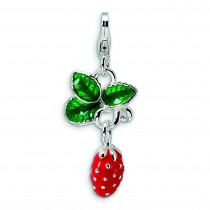 Strawberry Lobster Clasp Charm in Sterling Silver