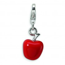 Red Apple Lobster Clasp Charm in Sterling Silver