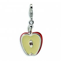 Apple Half Lobster Clasp Charm in Sterling Silver