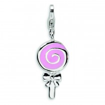 Pink Lollipop Lobster Clasp Charm in Sterling Silver