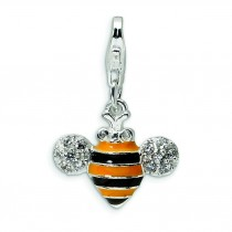 CZ Bubble Bee Lobster Clasp Charm in Sterling Silver