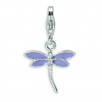 Lilac CZ Dragonfly Lobster Clasp Charm in Sterling Silver
