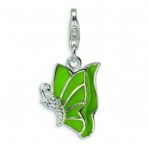 Green CZ Butterfly Lobster Clasp Charm in Sterling Silver