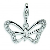 CZ Butterfly Lobster Clasp Charm in Sterling Silver