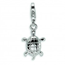 Turtle Lobster Clasp Charm in Sterling Silver