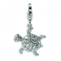 CZ Sea Turtle Lobster Clasp Charm in Sterling Silver