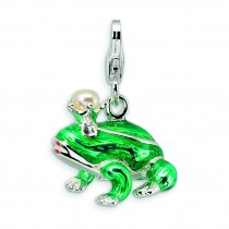 Fw Cult Pearl Sw Crystal Frog Lobster Charm in Sterling Silver