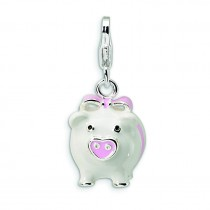 Pig Lobster Clasp Charm in Sterling Silver