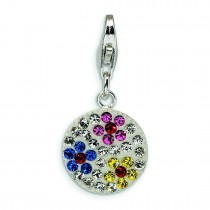 Swarovski Crystal Flower Disc Lobster Clasp Charm in Sterling Silver