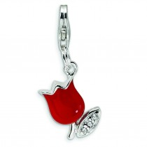 CZ Red Tulip Flower Lobster Clasp Charm in Sterling Silver