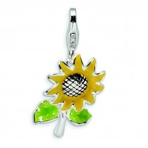 Sunflower Lobster Clasp Charm in Sterling Silver