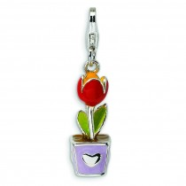 Red Enamel Potted Tulip Flower Lobster Clasp Charm in Sterling Silver