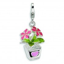 Potted Flowers Lobster Clasp Charm in Sterling Silver