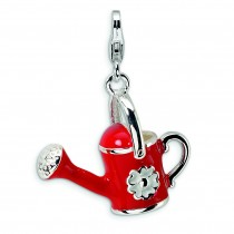Red Watering Can Lobster Clasp Charm in Sterling Silver