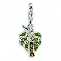 Swarovski Crystal Palm Tree Lobster Clasp Charm in Sterling Silver