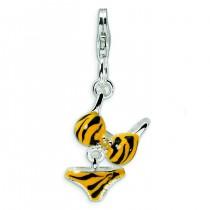 CZ Enamel Tiger Bikini Pendant in Sterling Silver